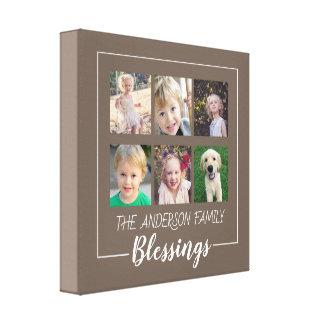 Impressão Em Canvas Bênçãos da família | colagem de 6 fotos em Brown