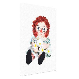 Impressão Em Canvas boneca de pano com margaridas