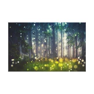 Impressão Em Canvas Bosque místico de conto de fadas, árvores,