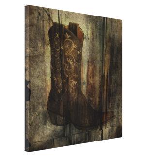 Impressão Em Canvas Bota de vaqueiro afligida do país ocidental da