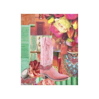 Impressão Em Canvas Bota de vaqueiro cor-de-rosa