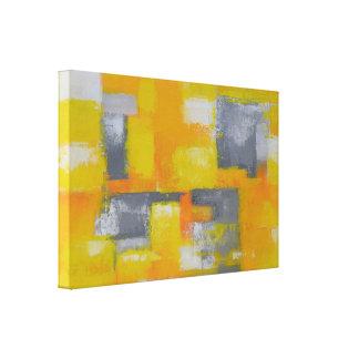 Impressão Em Canvas branco amarelo cinzento da pintura abstrata