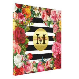Impressão Em Canvas Brilho na moda do ouro das flores dos rosas das