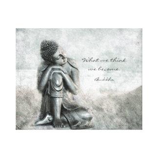 Impressão Em Canvas Buddha de prata calmo com citações da sabedoria