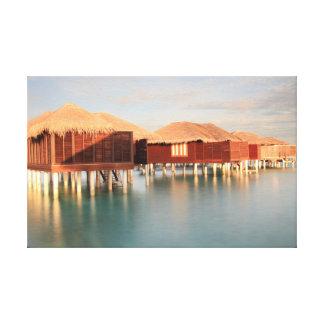 Impressão Em Canvas Bungalow tropical da praia do nascer do sol do
