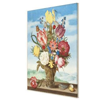 Impressão Em Canvas Buquê das flores em uma borda