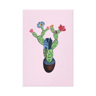 Impressão Em Canvas Cacto espinhoso com flores