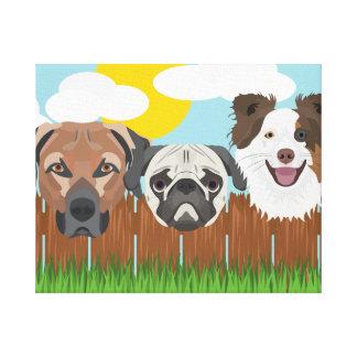 Impressão Em Canvas Cães afortunados da ilustração em uma cerca de