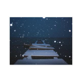 Impressão Em Canvas cais nevado no crepúsculo