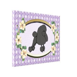 Impressão Em Canvas Caniche no Oval do Weave da lavanda com flores