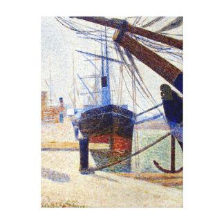 Impressão Em Canvas Canto de Georges Seurat do porto de Honfleu