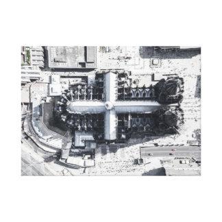 Impressão Em Canvas Catedral aérea preto e branco da água de Colônia