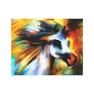 Impressão Em Canvas Cavalo do abstrato do branco do arco-íris