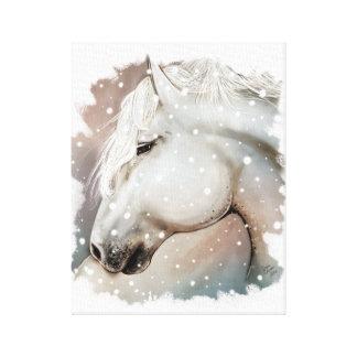 Impressão Em Canvas Cavalo nevado em Cavas