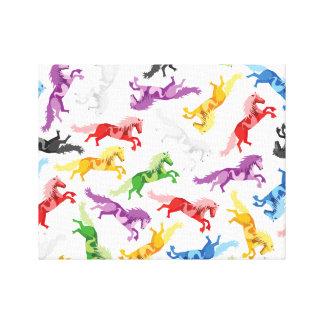 Impressão Em Canvas Cavalos de salto coloridos do teste padrão