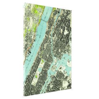 Impressão Em Canvas Central Park do vintage & Bronx NY Mapa (1947)