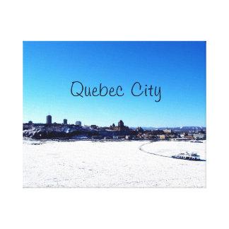 Impressão Em Canvas Cidade de Quebec e St. Lawrence River no inverno