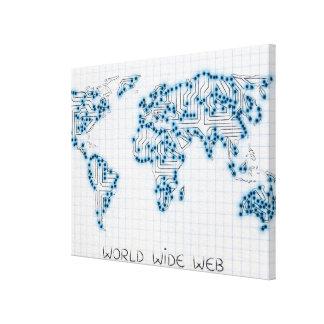 Impressão Em Canvas Circuitos eletrônicos do microchip do mapa do