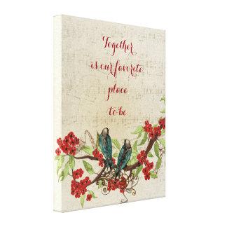 Impressão Em Canvas Citações florais vermelhas do teste padrão dos