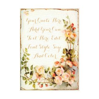 Impressão Em Canvas Citações personalizadas com rosas
