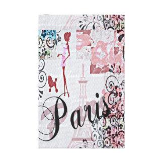 Impressão Em Canvas Colagem floral de Paris no rosa