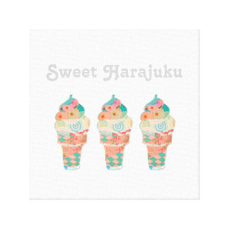 Impressão Em Canvas Cone do rosa do sorvete do creme do arco-íris