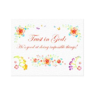Impressão Em Canvas Confiança no deus