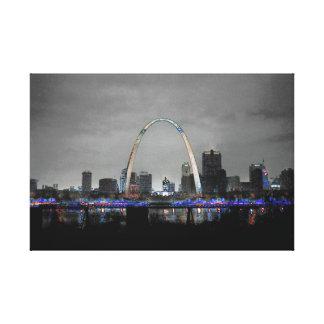Impressão Em Canvas Cor da arte B/W w/selective da skyline de St Louis