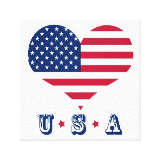 Impressão Em Canvas Coração americano dos EUA da bandeira de América