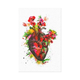 Impressão Em Canvas Coração anatômico com flores, coração floral