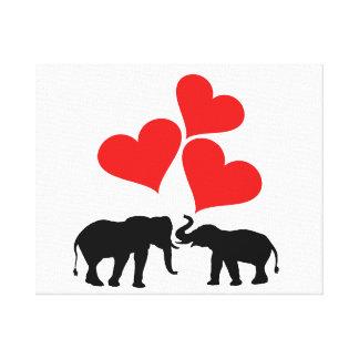 Impressão Em Canvas Corações & elefantes