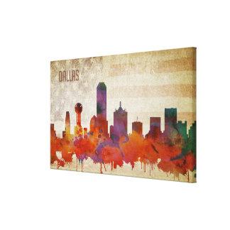 Impressão Em Canvas Dallas, skyline da cidade da aguarela de TX  