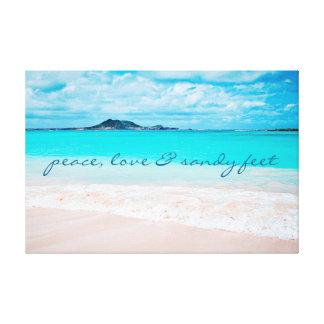 """Impressão Em Canvas De """"Os pés Sandy"""" citam a foto azul do oceano & do"""