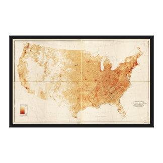 Impressão Em Canvas Densidade populacional Mapa dos Estados Unidos