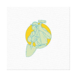 Impressão Em Canvas Desenho do círculo da pá do trabalhador da