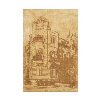 Impressão Em Canvas Desenho do vintage da construção
