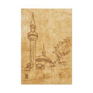 Impressão Em Canvas Desenho do vintage da mesquita de Juma-Jami