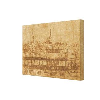 Impressão Em Canvas Desenho do vintage do minarete
