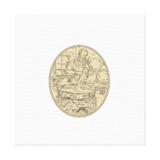 Impressão Em Canvas Desenho oval da cerveja medieval da fabricação de