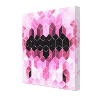Impressão Em Canvas Design geométrico cor-de-rosa & preto intenso