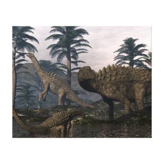 Impressão Em Canvas Dinossauros do Ampelosaurus