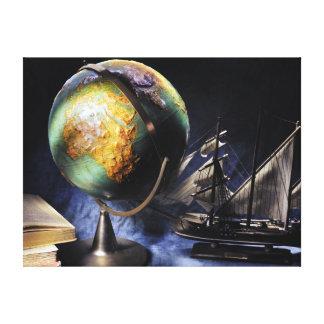 Impressão Em Canvas Do vintage vida ainda com globo
