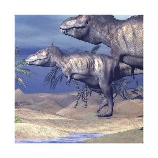 Impressão Em Canvas Dois dinossauros do tiranossauro