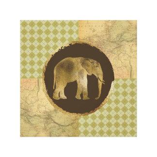 Impressão Em Canvas Elefante africano no mapa e no Argyle