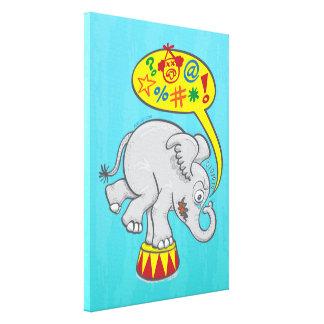 Impressão Em Canvas Elefante irritado do circo que diz palavras más