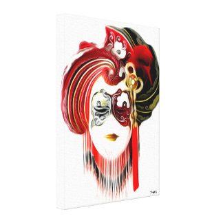 Impressão Em Canvas Escarlate da máscara & mantilha Venetian -