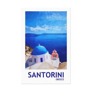 Impressão Em Canvas Estilo retro da piscina de Santorini