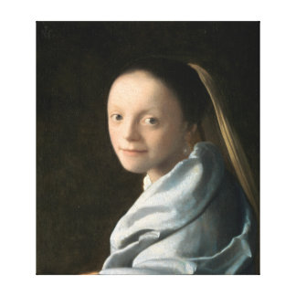 Impressão Em Canvas Estudo de Johannes Vermeer de uma jovem mulher
