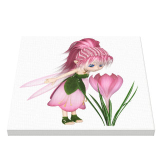 Impressão Em Canvas Fada cor-de-rosa bonito do açafrão de Toon,