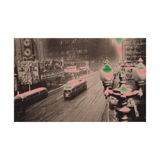 Impressão Em Canvas Fantasia 1950 do teatro de Chicago da rua do